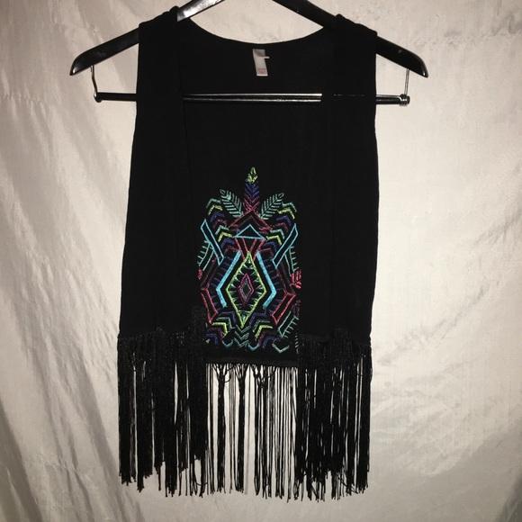 Xhilaration Jackets & Blazers - Xhilaration Festival Black Fringe Vest size xs